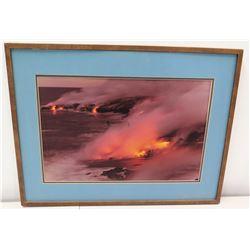 Framed Signed Photograph, Hawaii Island Volcano, Mauna Kea Caldera, 1971