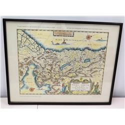 "Framed Map of Meditteranean, Approx. 24.5"" x 19.5"""