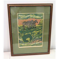 Framed Signed Art, Zebras, 1969 (Ltd. Ed. 143 of 200)