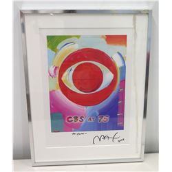 Framed 'CBS at 75' Art, Signed Max 2003 (To Jim)
