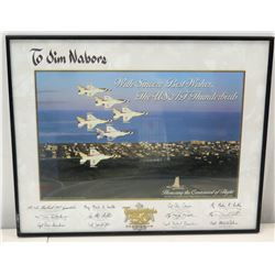 Framed USAF Thunderbirds 50th Centennial Photograph to Jim Nabors, Multiple Authographs