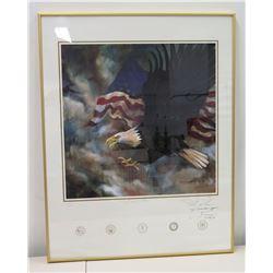 Framed Signed Art, American Bald Eagle & USA Flag, (Ltd. Ed. 59 of 5000), Artist Lonnie Eugene Stewa