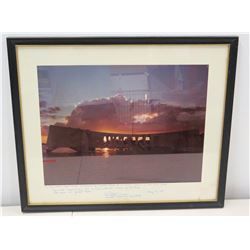 Framed Photo, USS Arizona, Pearl Harbor 1980 Memorial Day Ceremony w/ Note of Gratitude to Jim Nabor