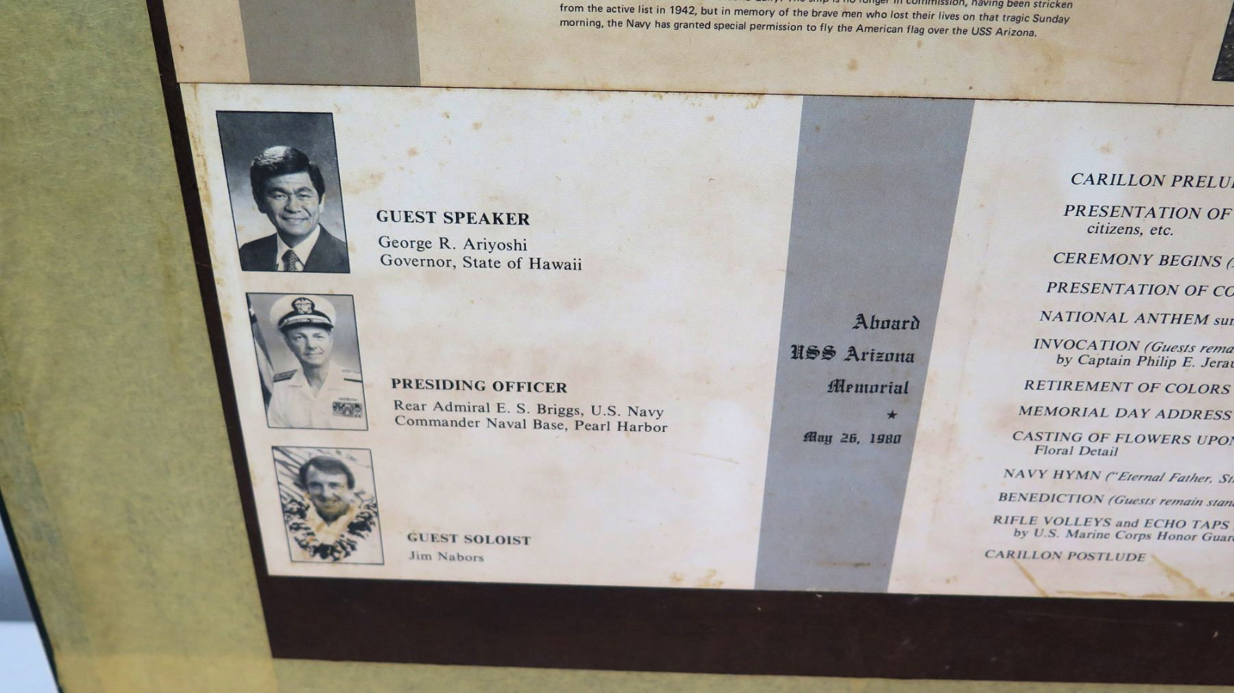 Framed Photo, USS Arizona, Pearl Harbor 1980 Memorial Day Ceremony w/ Note  of Gratitude to Jim Nabor