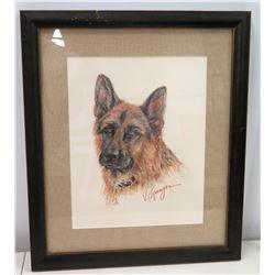 Framed Sketch of Jim Nabors' Dog, Artist-Signed