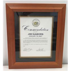 "State of Hawaii Governor's Congratulatory Letter to Jim Nabors, USS Missouri ""Night of American Hero"