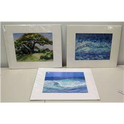 "Signed Giclee Artwork:  ""The Wave"" 8/15, ""Signature Tree"" 6/15, ""Pounding Surf"" 8/15 - Artist Linda"