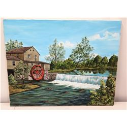 """Original Art on Stretched Canvas, Rural Country House Scene, Signed, Artist Harnack 30"""" x 24"""""""