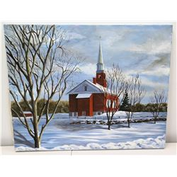 "Original Art on Stretched Canvas, Red Steepled Church, Signed, Artist Harnack 30"" x 24"""