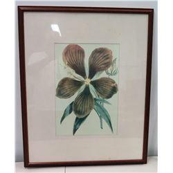 "Large Framed Artwork, ""Hibiscus"", Signed 'Love Zeelon' on Back of Frame, 26"" x 32"""