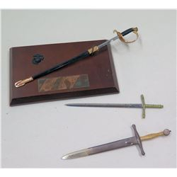 Qty 3 Miniature Metal Swords (Letter Openers?), One on Gomer Pyle plaque