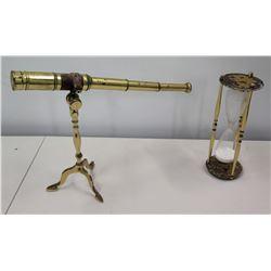 "Vintage Telescope (12""H) & Hourglass (10.5""H)"