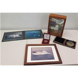 Misc. Photographs: USS Nimitz, Columbus (Submarine), Navy Brass Medal, USS Missouri Night of America