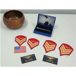 Vial of Rocks/Gravel from Iwo Jima (66th Anv), Misc. Chevron Badges, USA Flag