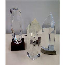 Qty 3 Misc. Glass Pillar Awards (Music Hall of Fame Alabama, Navy League of Honolulu, Music Foundati