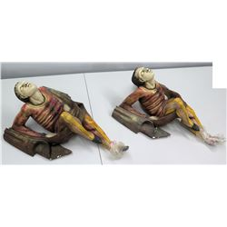 Pair of Large Painted Ceramic Wall Décor (pointed foot on each is broken)