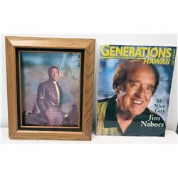 Large Framed Jim Nabors Photo & 2007 Cover 'Generations Hawaii' (frame not intact)