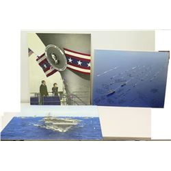 Large U.S. Navy Mounted Photographs with Signatures