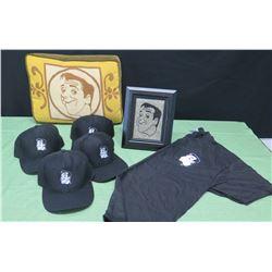 Qty 4 Jim Nabors Baseball Caps, T-Shirt (sz L), Pillow & Framed Profile