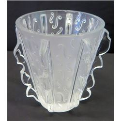 """Lalique Tapered Frosted Vase, 7"""" H"""