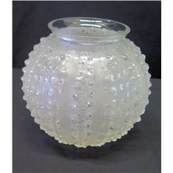 """Lalique Frosted Rounded Vase, 7"""" H"""