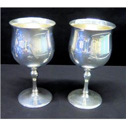 2 Stemmed Wine Goblets, Marked 'Reed & Barton Sterling X115' Monogrammed 'N'