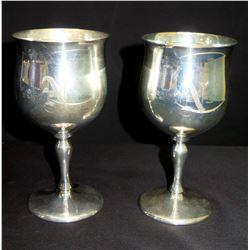 2 Stemmed Wine Goblets, Marked 'Reed & Barton Sterling X115' Monogrammed 'N'