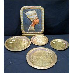 Rectangular Egyptian Platter w/ Raised Form & 4 Round Platters
