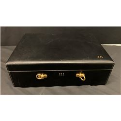 Black Leather Jewelry/Keepsake Box w/ Initials JN