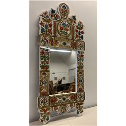 """Handpainted White Wooden Mirror w/ Acrylic Overlay, 26.5"""" x 54"""" (damage towards top right)"""