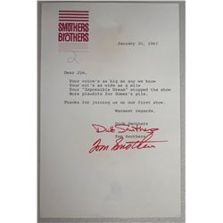 Smothers Brothers Letter to Jim, Signed