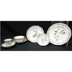 Royal Copenhagen Flora Danica  7-Pc Set: Dinner, Salad, Dessert Plates, Soup Cup, Teacup & 2 Saucers