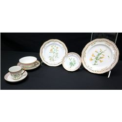 Royal Copenhagen Flora Danica  7-Pc Set: Dinner, Salad, Bread-and-Butter Plates, Soup Cup, Teacup &