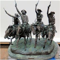 "Large Frederic Remington Bronze Sculpture ""Coming Through the Rye"" 30""W x 20""D x 28""H"