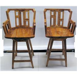 Pair of Koa Wood Swivel Bar-Height Chairs, 42  Back Ht., 21 W