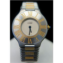 Cartier Watch w/ Gold Tone Accents, Back Engraved: JN, Love CB
