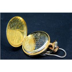 18K Gold Pocket Watch w/ Marking 'Remontoir Ancre Ligne Droite 17 Rubis'