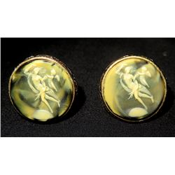 Pair of Cuff Links, Woman and Cherub in Relief