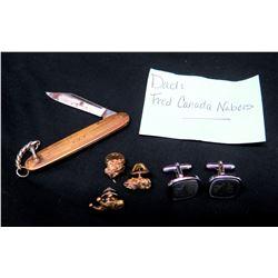 Cuff Links, Pin, Pocket Knife