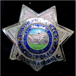 Reno Police Honorary Chief Badge, Jim Nabors (some wear & tear)