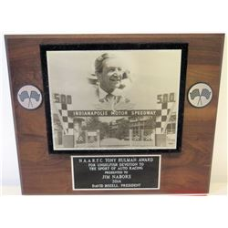 Indianapolis 500 Motor Speedway Award Plaque Presented to Jim Nabors, 2014
