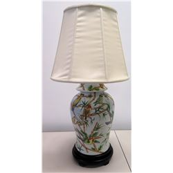 "White Glazed Porcelain Urn Lamp with Bird Motif, 35""H"