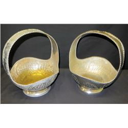 Pair of Tall Metal Baskets, India