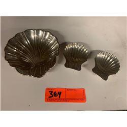 "3 Clam Shells: Lrg Shell Bears the Markings ""Gorham Sterling 445"" & Smaller One Bears the Marking ""S"