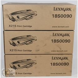 LOT OF 3 LEXMARK 1850090 X215 PRINTER CARTRIDGES