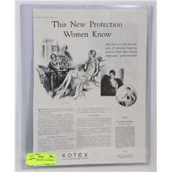ORIGINAL 1929 KOTEX  AD FRAMED