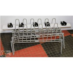 2 SHOE RACKS AND BROOM HOLDER