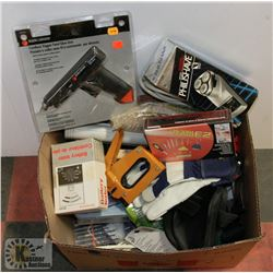 BOX OF MISC INCL SCREW DRIVER KIT, GLUE GUN AND