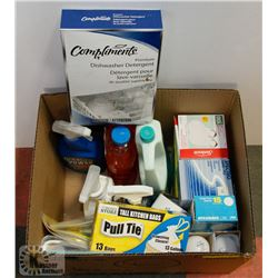 BOX OF HOUSEHOLD CLEANING SUPPLIES