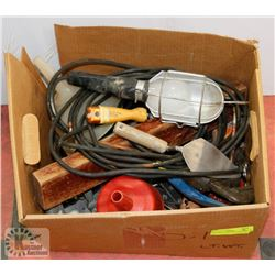 BOX OF TOOLS INCL WORK LIGHT, WRENCH AND MORE